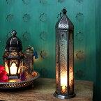 モロッコランタン・キャンドルホルダー 高さ35cm オリエンタルランプ6面のレリーフガラス Morocco Lantern Candle holder