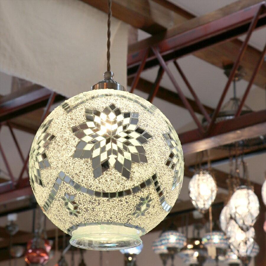 トルコランプモザイクランプ直径23cmボール型ホワイトフラワーE17/60W