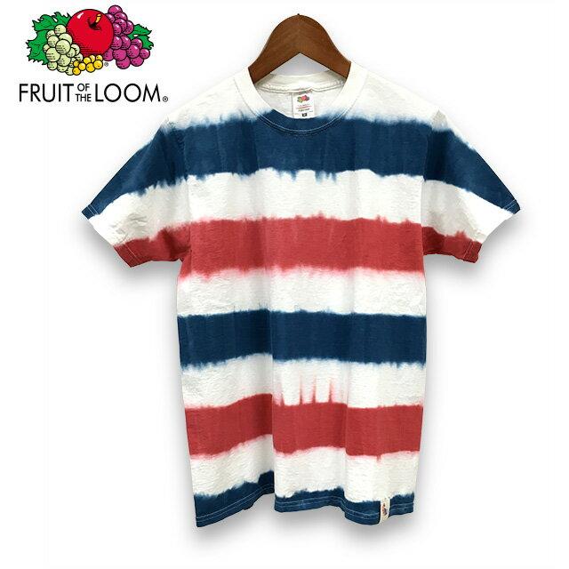 染め ボーダー柄 フルーツオブザルーム 半袖 Tシャツ : TS-343