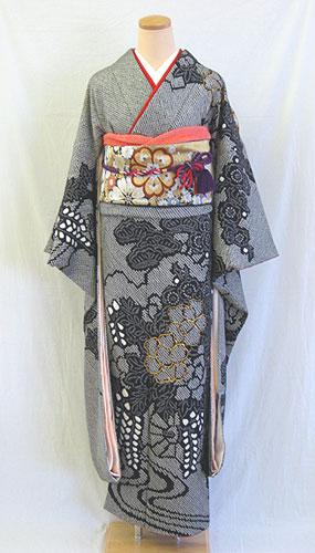 【レンタル 送料無料】 成人式 正絹振袖フルセット   「黒地にオシャレ総絞り 振袖」