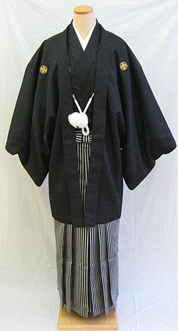 【レンタル 送料無料】  男物羽織袴フルセット  「黒紋付羽織袴」    └ ( 2月〜12月のレンタル )