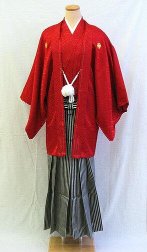 【レンタル 送料無料】  男物羽織袴フルセット  「真紅の羽織袴」    └ ( 2月〜12月のレンタル )