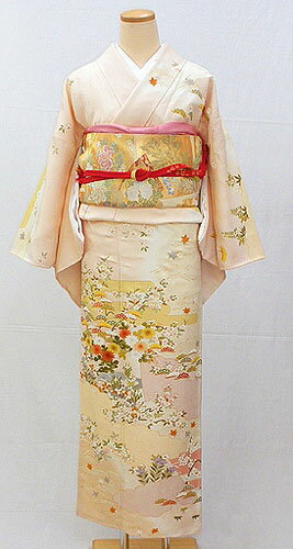 Pure silk houmongi full set ' to pale amber in elegant four seasons flower visiting ' ~ entrance ceremony, party, 七五三 ~