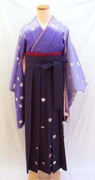 【レンタル 送料無料】 小振袖・袴フルセット  「紫地にすっきり小桜」  〜思い出に残る卒業式に〜
