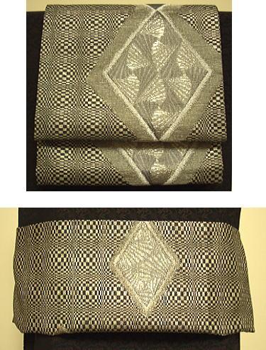 菱とり紋 三重紗 袋帯