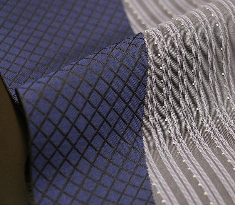 正絹八寸名古屋帯「By-color」バイカラー 【ロイヤルブルー×グレー】 お仕立てあがり プレタ
