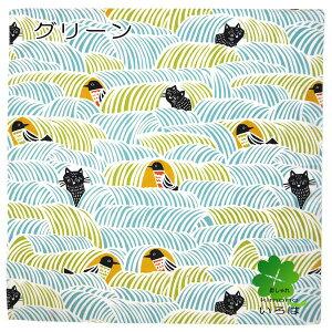 【メール便・ネコポス対応】こはれ風呂敷70cmねこととりピンクグリーンkatakata風呂敷タペストリー袋かばんプレゼント黒猫商売繁盛開店・開業祝い贈答かわいいおしゃれfuroshiki鳥ネコ酉ねこ