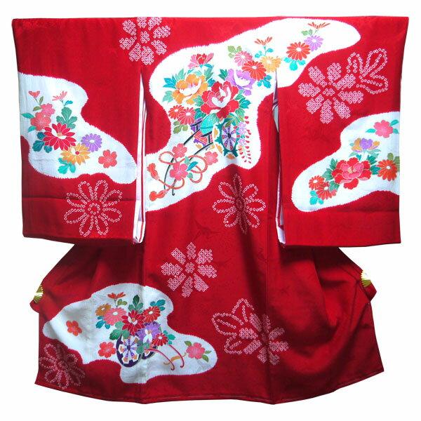 祝着 お宮参り 産着 日本製 絞り 本染め のしめ 一つ身 女の子 手描き友禅 金彩 白・赤 正絹 花車 花 赤地 かわいい 可愛い 女児 長襦袢付き 赤ちゃん ベビー きもの 着物 化粧箱付き 牡丹 ぼかし 一ツ身:おしゃれ kimono いろは
