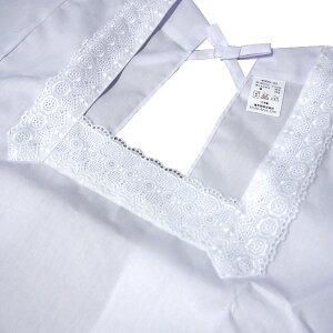 【ネコポス対応】和装割烹着和装カッポー90cm白ホワイト日本製撥水撥油加工ML着物用きもの用かっぽうぎ角衿フリル付きレース付きポケット