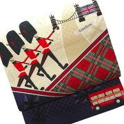【送料無料】正絹京袋帯お仕立て上りロンドン赤青色ベージュチェック市松モダンイギリス兵隊国旗バスかわいいおしゃれカジュアル着物用きもの小紋おでかけ着帯日本製