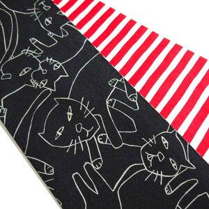 【送料無料】きはる半巾帯綿100%ねこ黒地赤色水玉絞り調猫ネコきものゆかた帯かわいいおしゃれモダン両面リバーシブル半幅帯浴衣帯レディース女性用女物帯着物用カラフル木綿日本製無地