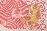 ≪katakata≫ねこ柄小風呂敷ネコと毛糸ピンク50cm【ふろしき】【キッチンクロス】【日本製】