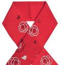 ちりめん刺繍半衿 赤 薔薇(バラ)とハート 【半襟】【振袖用】 1