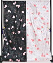 ≪卒業式・成人式向け≫振袖単品黒×白×ピンク薔薇(バラ)身丈166cm【Lサイズ】【トールサイズ】【洗えるきもの】【結婚式】