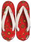 クリスマス草履赤×白・銀(鼻緒)XmasリースMサイズ(23,5cm)【女性】【レディース】【和装履物】【日本製】【Christmas】【サンタクロース】【トナカイ】