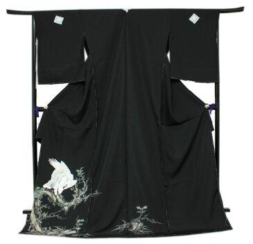 【正絹黒留袖 未仕立て 仮絵羽 鷹柄】礼装 黒留め袖 新品 お誂え 購入 販売 結婚式 既婚 五つ紋 家紋 フォーマル 【hzくこ】
