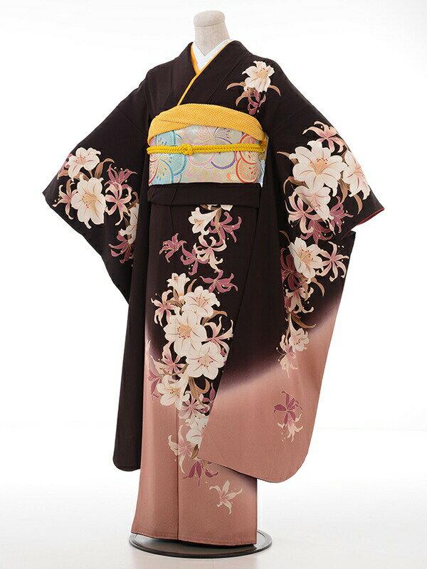 【レンタル】【スーパーSALE】振袖 レンタル 成人式 着物 セット こげ茶ゆり裾ベージュピンク
