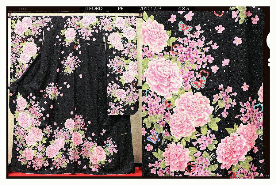 【クーポン】【レンタル】振袖 レンタル 成人式 着物 セット (結婚式)(結納)黒地にローズ往復送料無料36