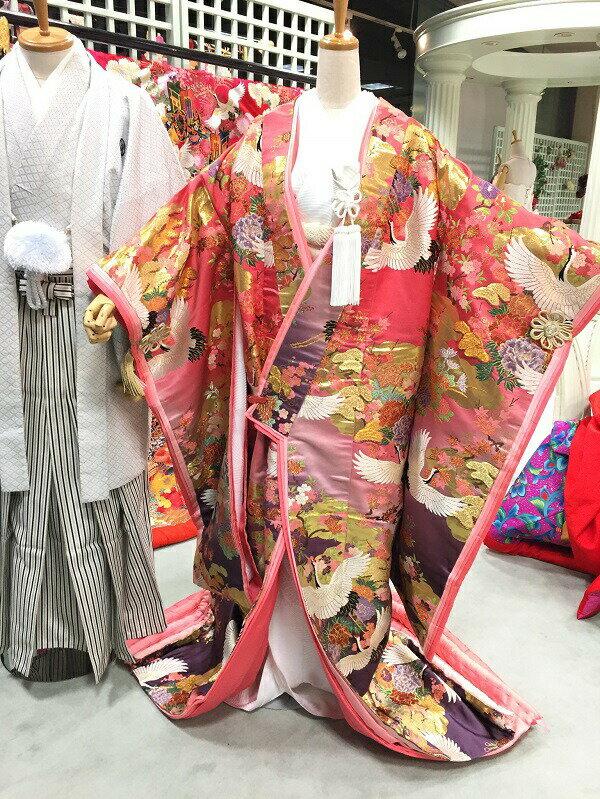 【レンタル】結婚式 ブライダル 雅重ねピンク紫ぼかし鶴に四季の花【色打掛】【結婚式】【披露宴】【前撮り写真】