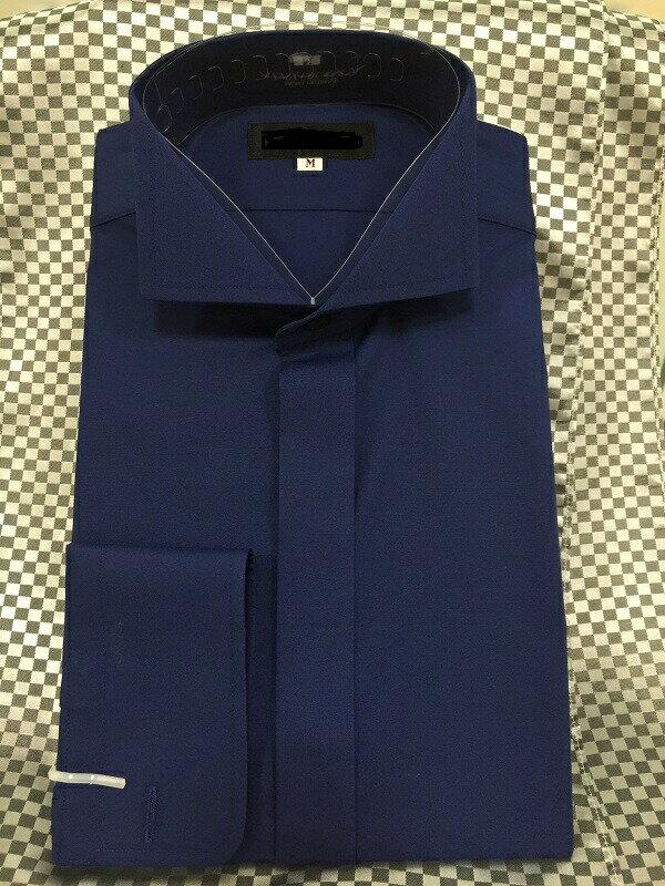 【レンタル】【ウイングカラーシャツ】【紺】【ワイシャツのみレンタル】【タキシード シャツ】【ワイシャツ】【ウィングシャツ】【タキシード】【シャツのみ】【フォーマル】新郎 小物 セット【S.M.L.LL.3L.4L.5L】【青のシャツ】【ウイングカラー紺】