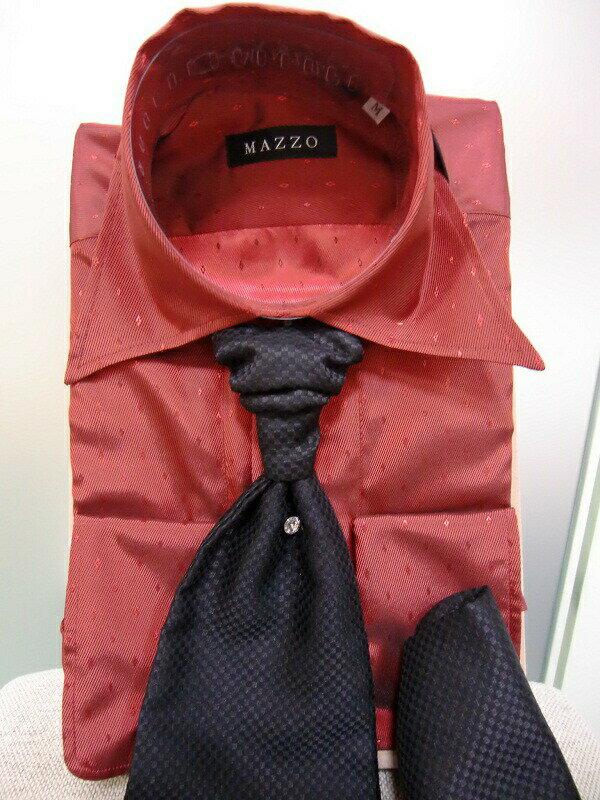 【クーポン】【レンタル】【赤のシャツ】【赤のシャツ レンタル】ワイシャツのみレンタル【カラーシャツ】【タキシード】【シャツ】【ネクタイ スカーフ付】【フォーマル】