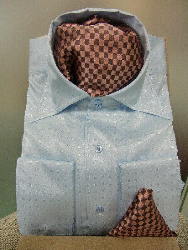 【クーポン】【レンタル】【ブルーのシャツ】【ブルーのシャツ レンタル】ワイシャツレンタル【カラーシャツ】【タキシード】【シャツ】【チーフ スカーフ付】【フォーマル】
