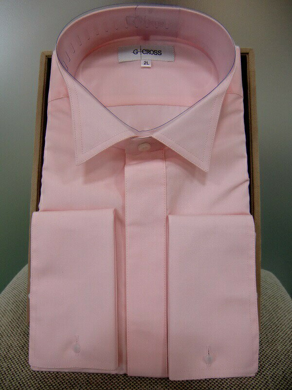 【レンタル】【ウイングカラーシャツ】【ピンク】【ワイシャツのみレンタル】【ピンクのシャツ】【カラーシャツ】【ウィングシャツ】【タキシード】【シャツのみ】【フォーマル】サイズが豊富【S.M.L.LL.3L.4L.5L】新郎 小物 セット