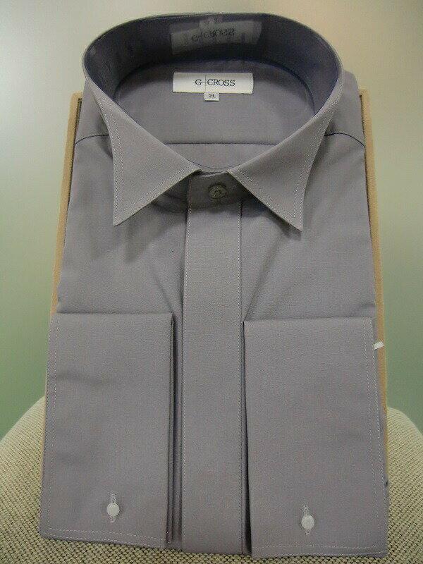 【レンタル】【カラーのウイングカラーシャツ】【グレーのウイングカラーシャツ】ワイシャツのみレンタル【グレーのタキシードシャツ】【ワイシャツ】【ウィングシャツ】【タキシード】【シャツのみ】【フォーマル】