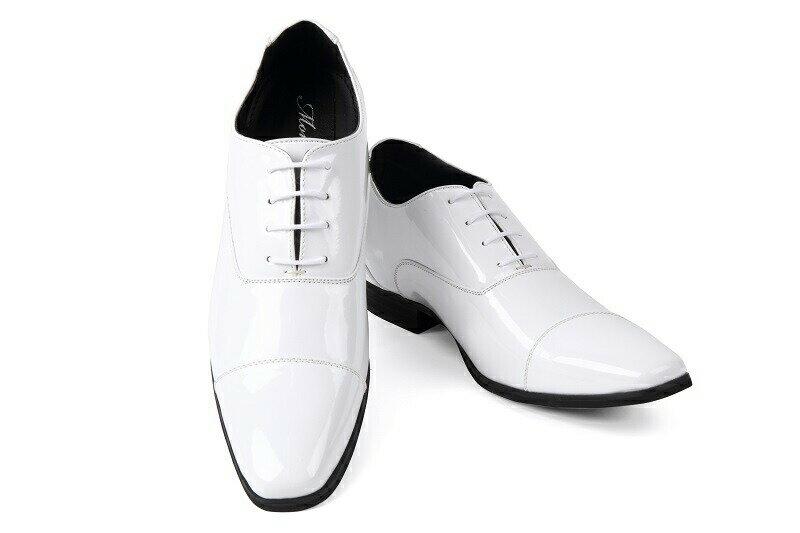 【クーポン】【レンタル】【エナメル】【ストレートチップ】【タキシード】【ブライダルシューズ】【結婚式】【白い靴】【シークレットシューズ】【ホワイト】【往復送料無料】(メンズシューズ)【フォーマルシューズ】