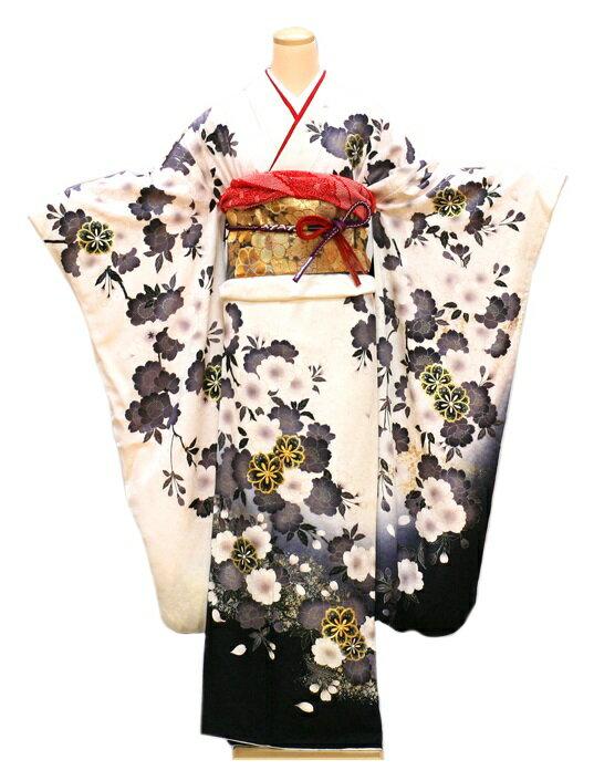 【クーポン】【レンタル】振袖 レンタル 成人式 着物 セット 白地裾黒グレー桜花22