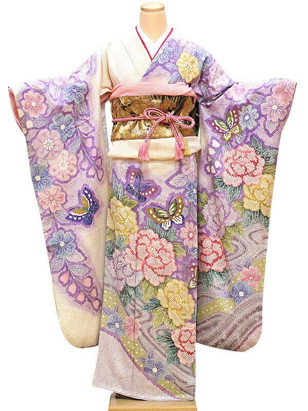 【レンタル】振袖 レンタル 成人式 着物 セット 絞りの白地ピンクパープル43