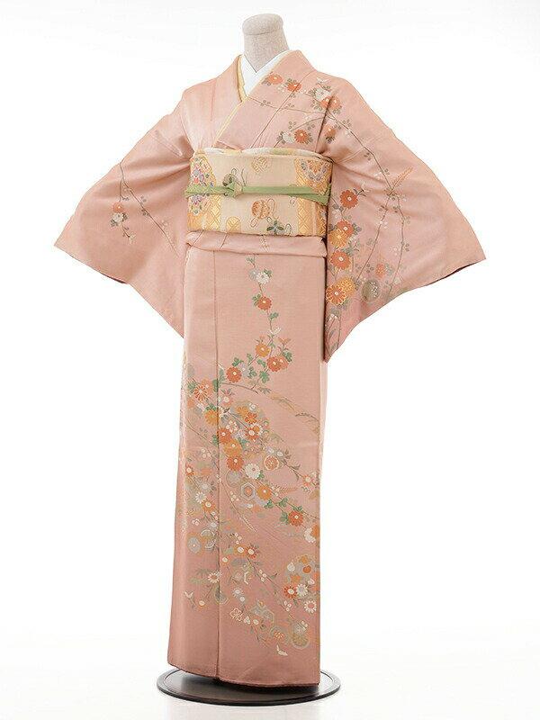 【レンタル】訪問着 結婚式 ブライダル およばれ レンタル 送料無料 着物 ピンク地裾濃いめ小枝と小菊