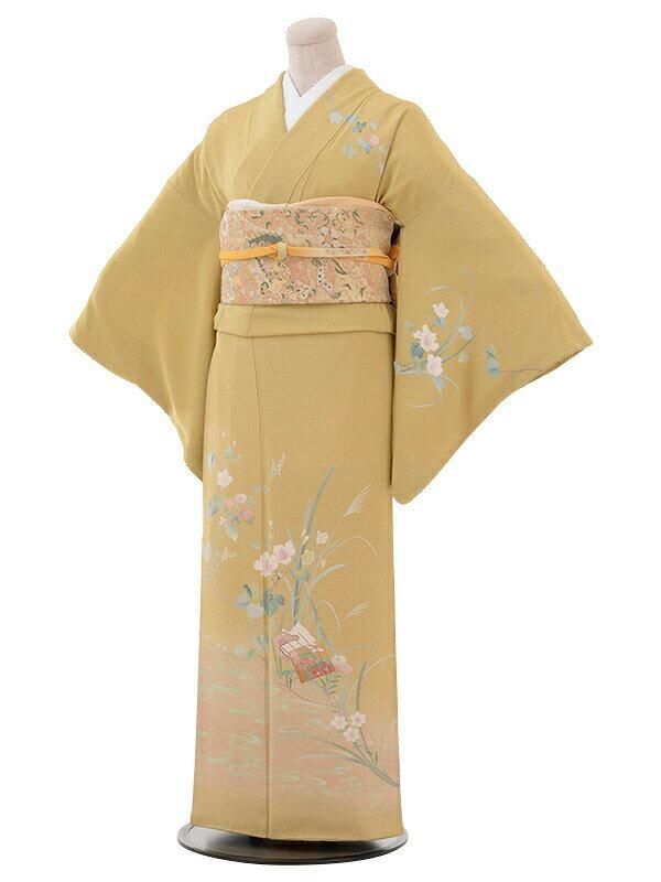 【レンタル】付け下げ 結婚式 ブライダル およばれ レンタル 送料無料 着物 うぐいす色 裾流水花柄
