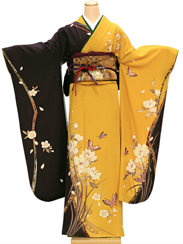 【レンタル】振袖 レンタル 成人式 着物 セット 黄色に焦げ茶花に蝶40