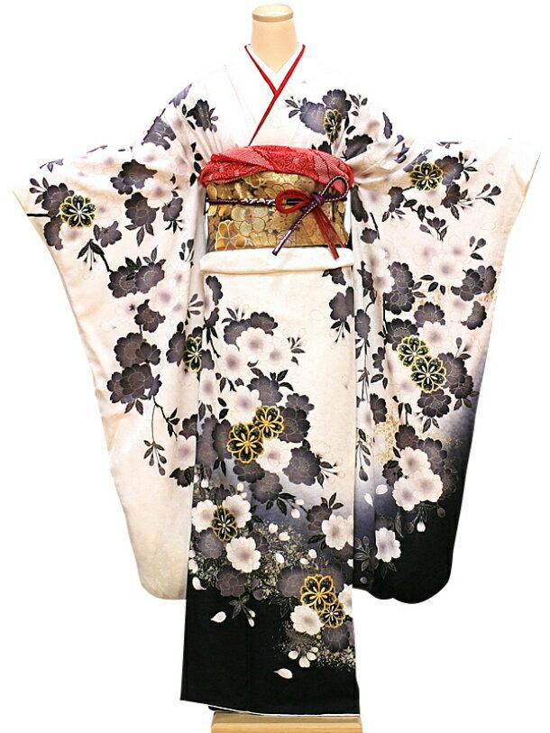 【レンタル】振袖 レンタル 成人式 着物 セット 白地裾黒グレー桜花22