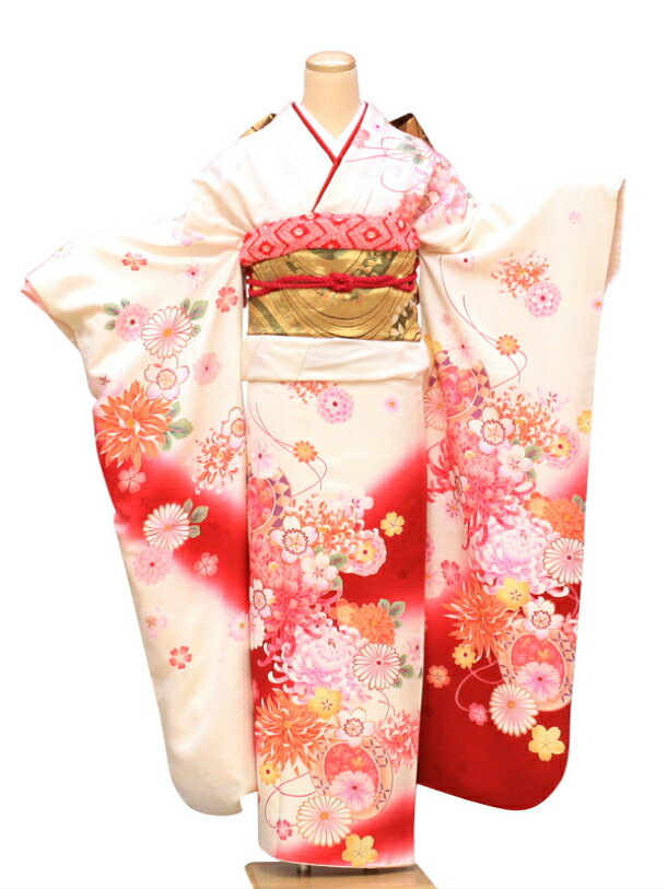 【レンタル】振袖 レンタル 成人式 着物 セット 白地にレッドピンク花の舞50