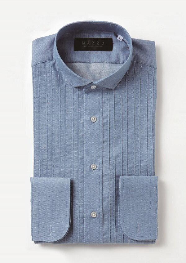 【レンタル】【プリーツダンガリーシャツ】【プリーツシャツ】【紺】新郎 小物 セット【タキシード シャツ】【ワイシャツ】【ダンガリーシャツ】【タキシード】【シャツのみ】【フォーマル】サイズが豊富【S.M.L.LL.3L】【青のシャツ】【紺】