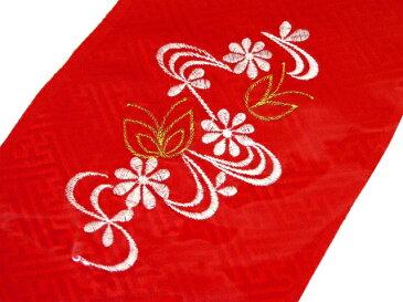 【メール便可】七五三 子供用半衿【刺繍】(地文様のある赤地に花と流水・金色の蝶々柄)