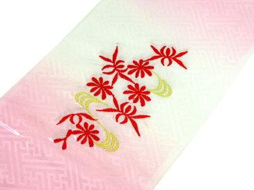 【メール便可】七五三 子供用半衿【刺繍】(地文様のあるピンクと白のぼかし地に花と蝶々・金色の流水柄)