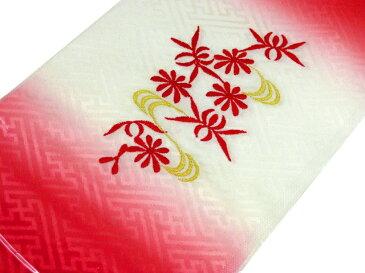 【メール便可】七五三 子供用半衿【刺繍】(地文様のある赤と白のぼかし地に花と蝶々・金色の流水柄)