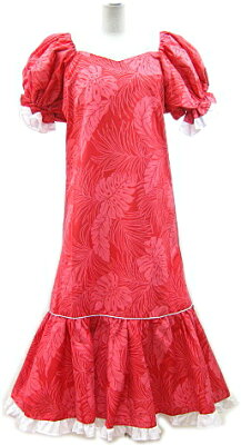 【訳あり大特価】【訳あり大特価】フラダンスドレス赤地に葉っぱ柄