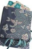 特選西陣織正絹袋帯膨れ織り錆青地鳳凰更紗唐草模様超軽量
