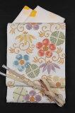 【洛陽織物】特選西陣唐織袋帯白地「カラフル笹蔓文」<<訪問着などのフォーマルにおすすめ>>