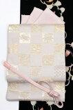 西陣織特選袋帯「市松宝尽くし文」白×金格調高い雰囲気のハイクラスなフォーマル袋帯小林定織物