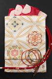【となみ織物】西陣織袋帯振袖用六通柄となみ帯錦織/大七宝華文白地
