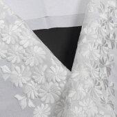 刺繍半襟白地菊文(白糸刺繍)振袖用訪問着用成人式卒業式半衿婚礼衣装用礼装用「衿秀」刺繍半衿洗えるポリエステルししゅう半衿