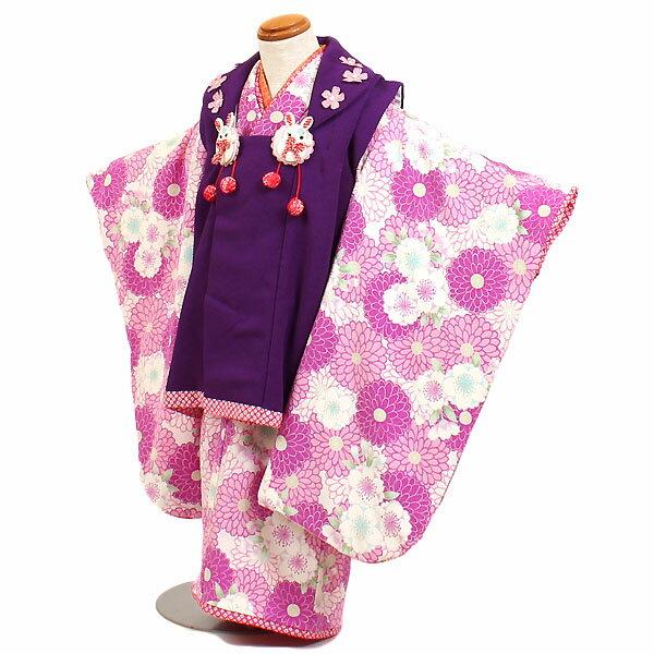 【レンタル】【七五三レンタル・3才女児着物『Japan Style』白/紫地】ブランド|七五三|被布着物|3歳|被布セット|753|貸衣装|子供|レンタル|女の子|3歳被布セット|かわいい|往復送料無料