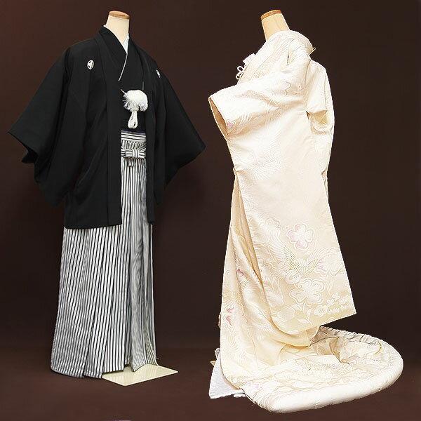 【レンタル】【白無垢・紋付フルセット〔Courreges/クレージュ〕〔生成色〕】白無垢|レンタル|結婚式|レンタル着物|フルセット|和装|貸衣装|紋付袴|花嫁衣装|和服|和婚|新郎|新婦|衣装レンタル|ブライダル|神前式|神社|安い|往復送料無料