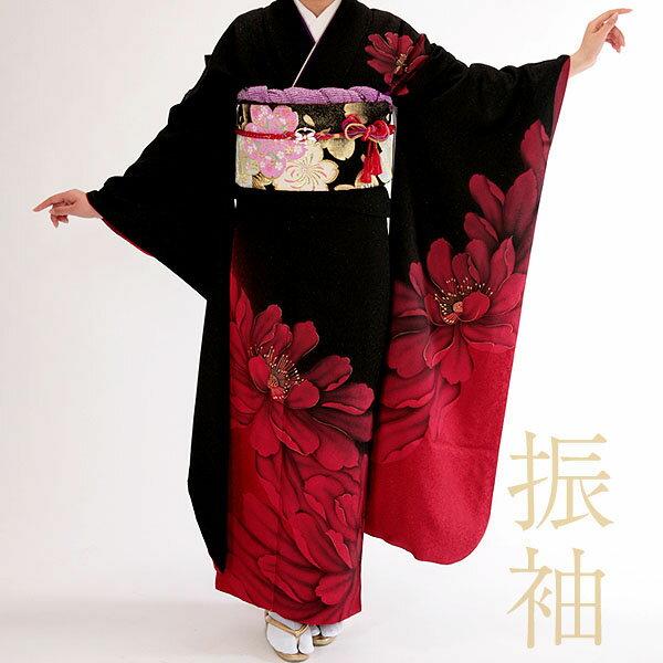 【日本全国 送料無料】振袖レンタル19点フルセット・黒/赤 満開ボタン【モデル着用振袖】【足袋プレゼント】【着物レンタル】【貸衣装】【女性和服】【成人式】【背の高い方用】ふりそで furisode