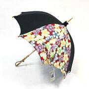 日傘UVカット岡重長傘持ち手バンブーレディース日傘おしゃれ岡重京友禅染めバンブーレッド花柄和装着物セール